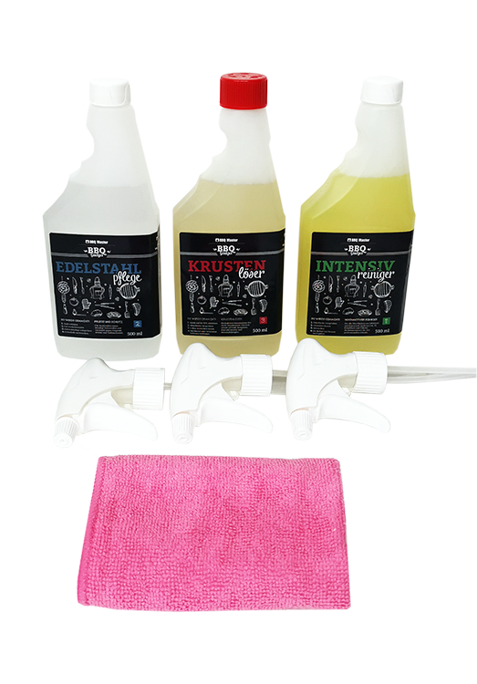 Grill Cleaner Set (3x500ml) with microfibre cloth